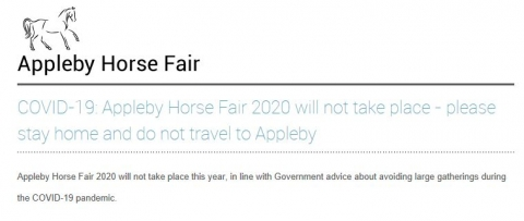 Appleby Horse Fair will not take place in 2020